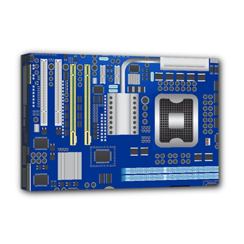 Classic Blue Computer Mainboard Deluxe Canvas 18  X 12   by BangZart