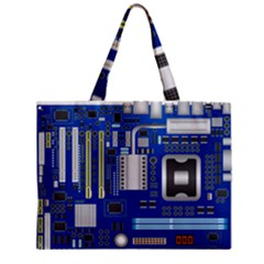 Classic Blue Computer Mainboard Zipper Mini Tote Bag