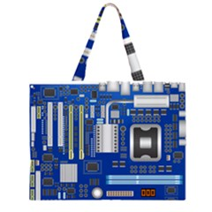 Classic Blue Computer Mainboard Zipper Large Tote Bag by BangZart