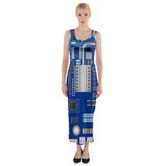 Classic Blue Computer Mainboard Fitted Maxi Dress