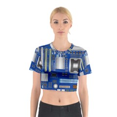 Classic Blue Computer Mainboard Cotton Crop Top