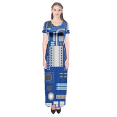 Classic Blue Computer Mainboard Short Sleeve Maxi Dress