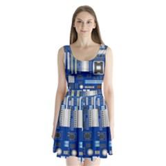 Classic Blue Computer Mainboard Split Back Mini Dress
