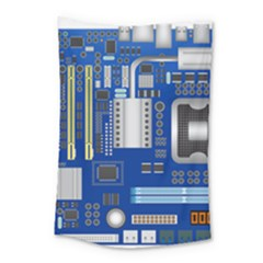 Classic Blue Computer Mainboard Small Tapestry by BangZart