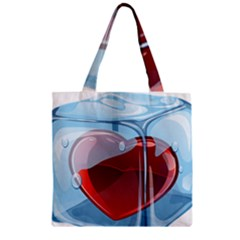 Heart In Ice Cube Zipper Grocery Tote Bag by BangZart
