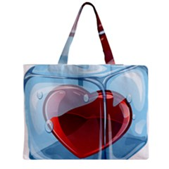Heart In Ice Cube Medium Zipper Tote Bag