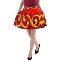 Easter Decorative Red Egg A Line Pocket Skirt