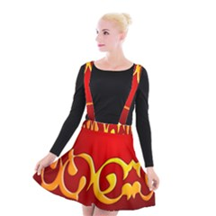 Easter Decorative Red Egg Suspender Skater Skirt