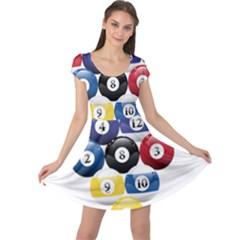 Racked Billiard Pool Balls Cap Sleeve Dresses