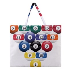Racked Billiard Pool Balls Zipper Large Tote Bag