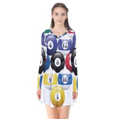 Racked Billiard Pool Balls Flare Dress
