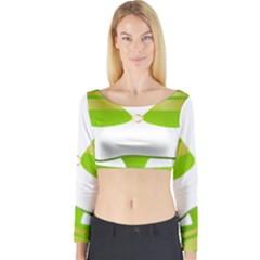 Green Swimsuit Long Sleeve Crop Top