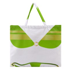 Green Swimsuit Zipper Large Tote Bag by BangZart