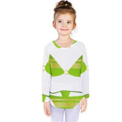 Green Swimsuit Kids  Long Sleeve Tee