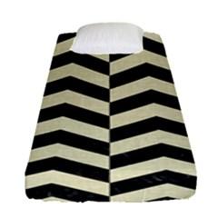 Chevron2 Black Marble & Beige Linen Fitted Sheet (single Size) by trendistuff