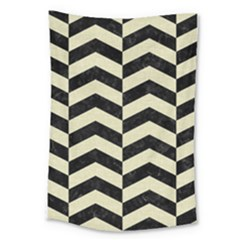 Chevron2 Black Marble & Beige Linen Large Tapestry by trendistuff