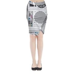 Standard Computer Case Back Midi Wrap Pencil Skirt