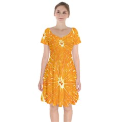 Orange Slice Short Sleeve Bardot Dress