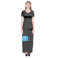 Standard Computer Case Front Short Sleeve Maxi Dress