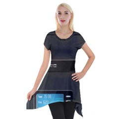 Standard Computer Case Front Short Sleeve Side Drop Tunic