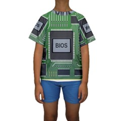 Computer Bios Board Kids  Short Sleeve Swimwear
