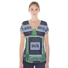 Computer Bios Board Short Sleeve Front Detail Top