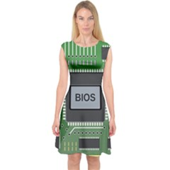 Computer Bios Board Capsleeve Midi Dress