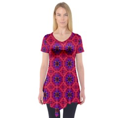 Retro Abstract Boho Unique Short Sleeve Tunic