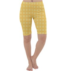 Yellow Pattern Background Texture Cropped Leggings