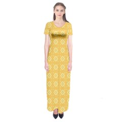 Yellow Pattern Background Texture Short Sleeve Maxi Dress