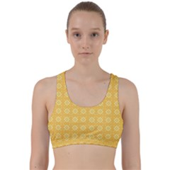 Yellow Pattern Background Texture Back Weave Sports Bra