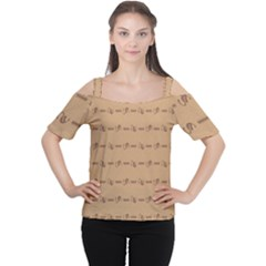 Brown Pattern Background Texture Cutout Shoulder Tee