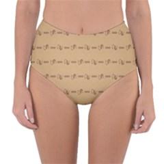 Brown Pattern Background Texture Reversible High Waist Bikini Bottoms