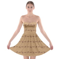 Brown Pattern Background Texture Strapless Bra Top Dress