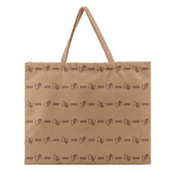 Brown Pattern Background Texture Zipper Large Tote Bag by BangZart