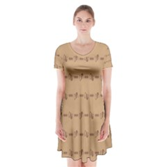 Brown Pattern Background Texture Short Sleeve V Neck Flare Dress