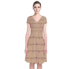 Brown Pattern Background Texture Short Sleeve Front Wrap Dress
