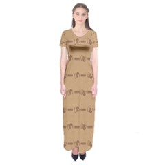Brown Pattern Background Texture Short Sleeve Maxi Dress