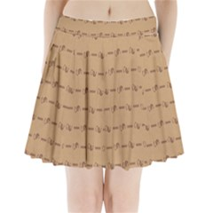 Brown Pattern Background Texture Pleated Mini Skirt