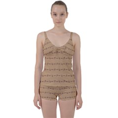 Brown Pattern Background Texture Tie Front Two Piece Tankini