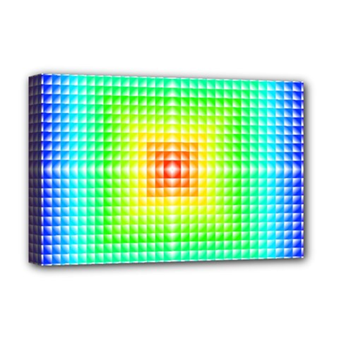 Square Rainbow Pattern Box Deluxe Canvas 18  X 12   by BangZart