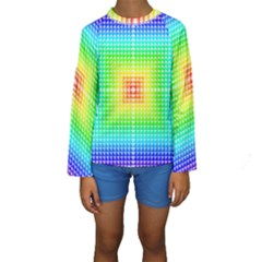 Square Rainbow Pattern Box Kids  Long Sleeve Swimwear