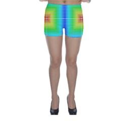 Square Rainbow Pattern Box Skinny Shorts