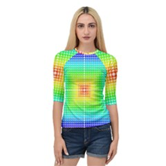 Square Rainbow Pattern Box Quarter Sleeve Tee