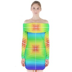 Square Rainbow Pattern Box Long Sleeve Off Shoulder Dress