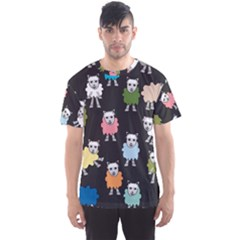 Sheep Cartoon Colorful Black Pink Men s Sports Mesh Tee