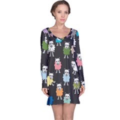 Sheep Cartoon Colorful Black Pink Long Sleeve Nightdress