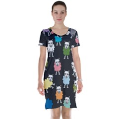 Sheep Cartoon Colorful Black Pink Short Sleeve Nightdress