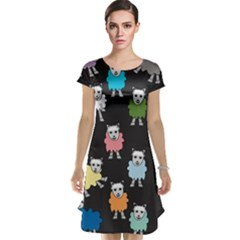 Sheep Cartoon Colorful Black Pink Cap Sleeve Nightdress