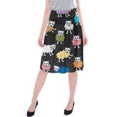 Sheep Cartoon Colorful Black Pink Midi Beach Skirt
